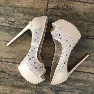 2/$49 Shoe Dazzle Nude Sparkling Stilettos